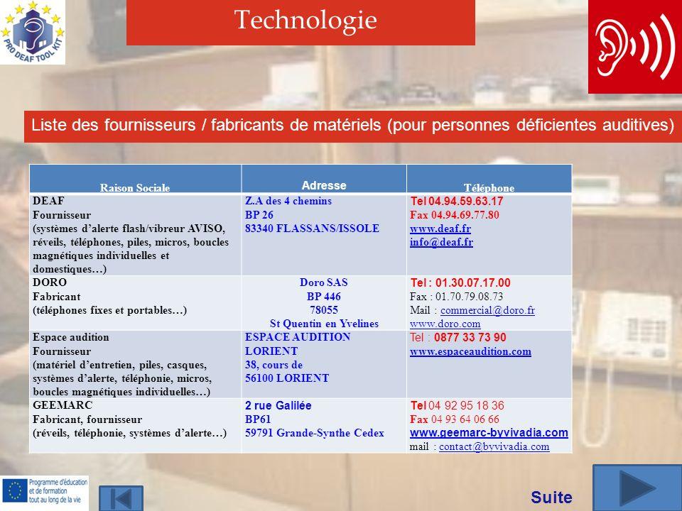 Technologie Liste des fournisseurs / fabricants de matériels (pour personnes déficientes auditives)