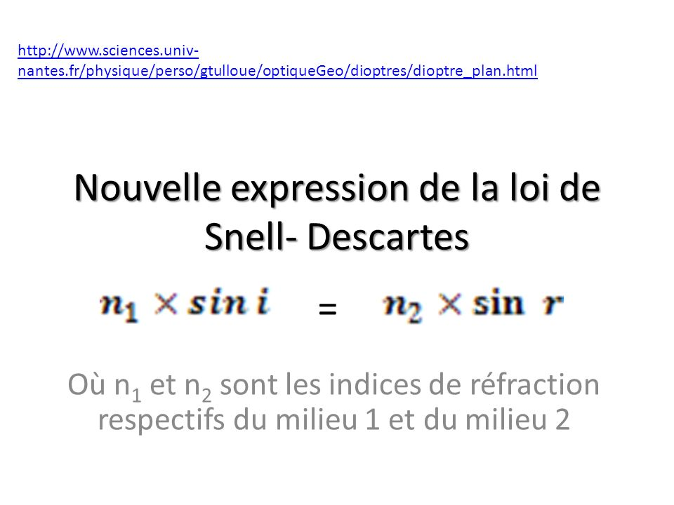 Nouvelle expression de la loi de Snell- Descartes