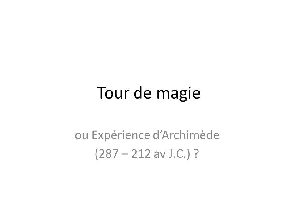 ou Expérience d'Archimède (287 – 212 av J.C.)