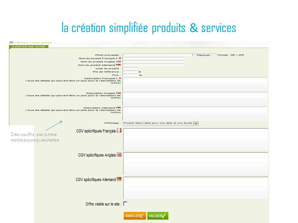 la création simplifiée produits & services