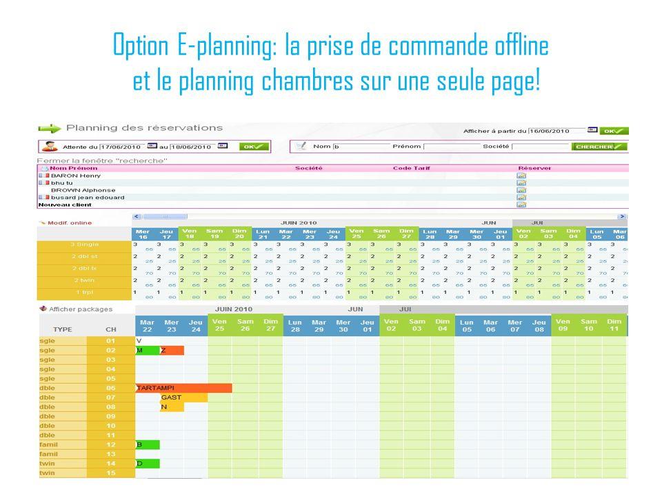 Option E-planning: la prise de commande offline et le planning chambres sur une seule page!