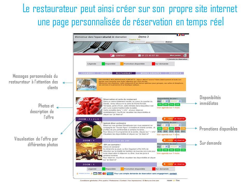Le restaurateur peut ainsi créer sur son propre site internet