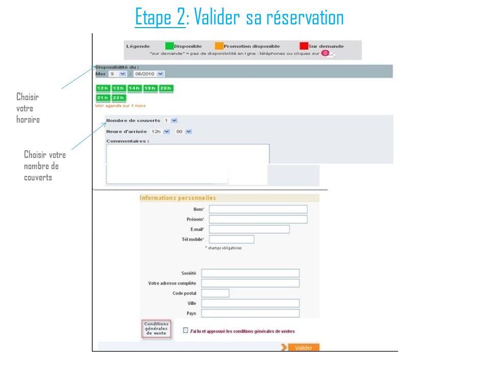 Etape 2: Valider sa réservation