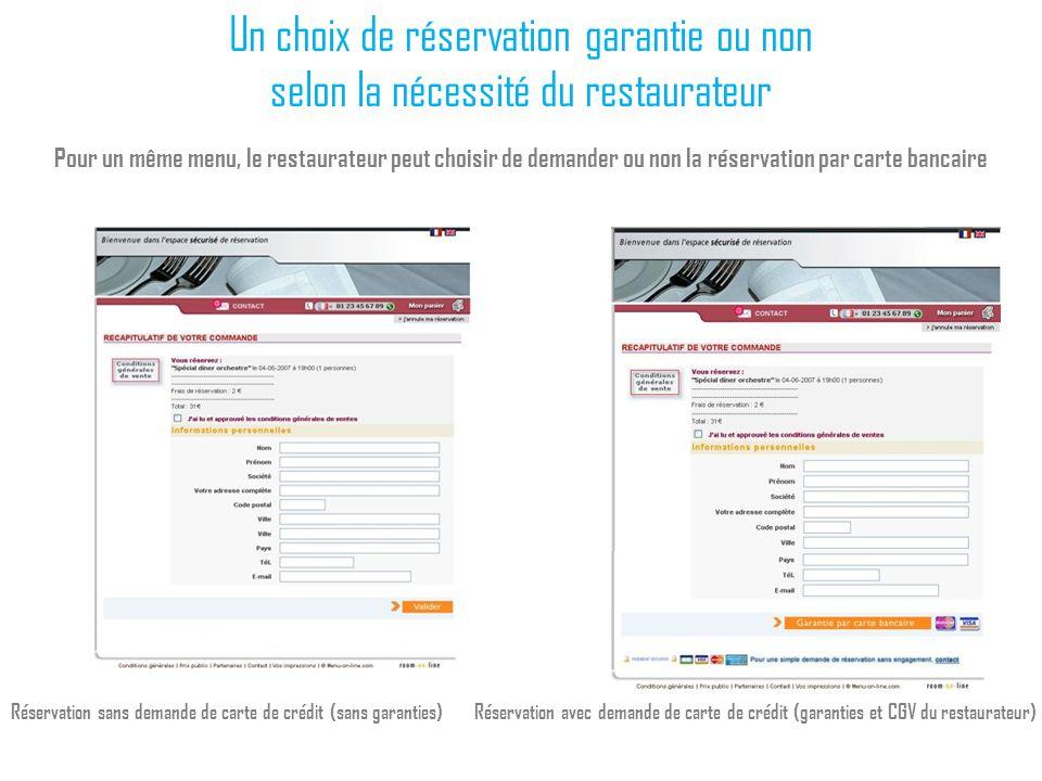 Un choix de réservation garantie ou non selon la nécessité du restaurateur