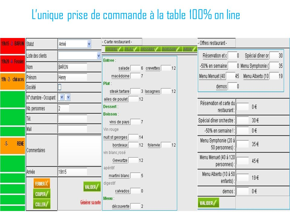 L'unique prise de commande à la table 100% on line