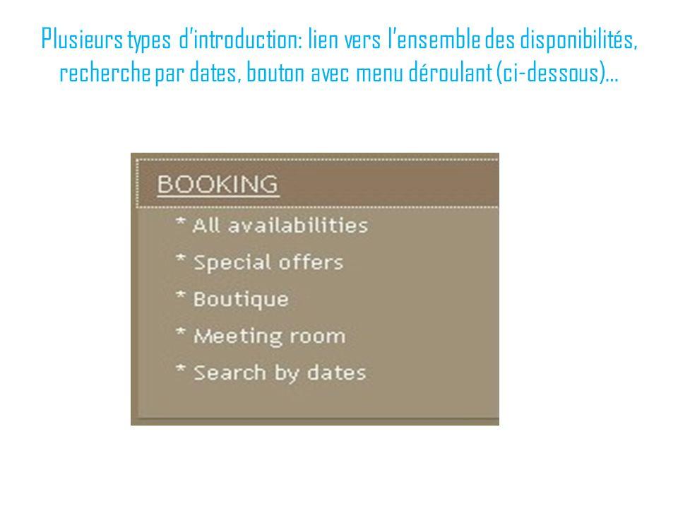 Plusieurs types d'introduction: lien vers l'ensemble des disponibilités, recherche par dates, bouton avec menu déroulant (ci-dessous)…