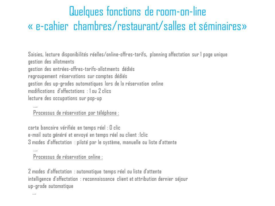 Quelques fonctions de room-on-line « e-cahier chambres/restaurant/salles et séminaires»