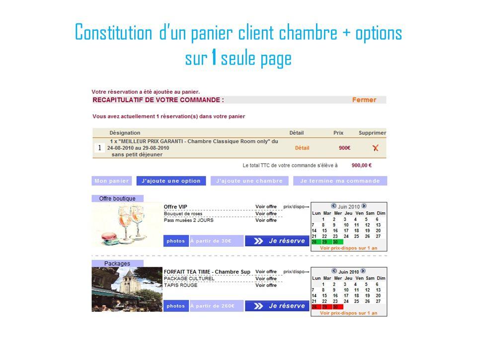 Constitution d'un panier client chambre + options sur 1 seule page