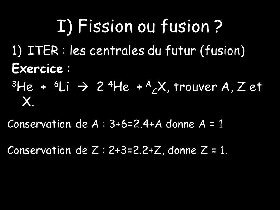 I) Fission ou fusion ITER : les centrales du futur (fusion)