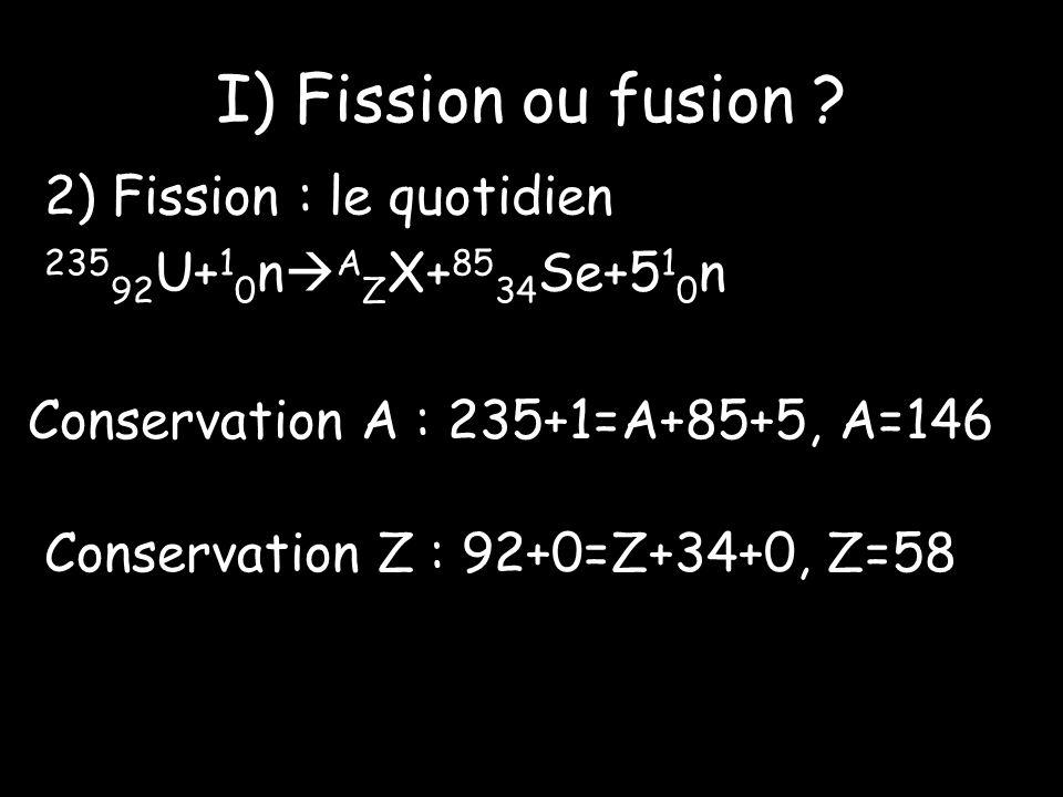I) Fission ou fusion 2) Fission : le quotidien 23592U+10nAZX+8534Se+510n Conservation A : 235+1=A+85+5, A=146.