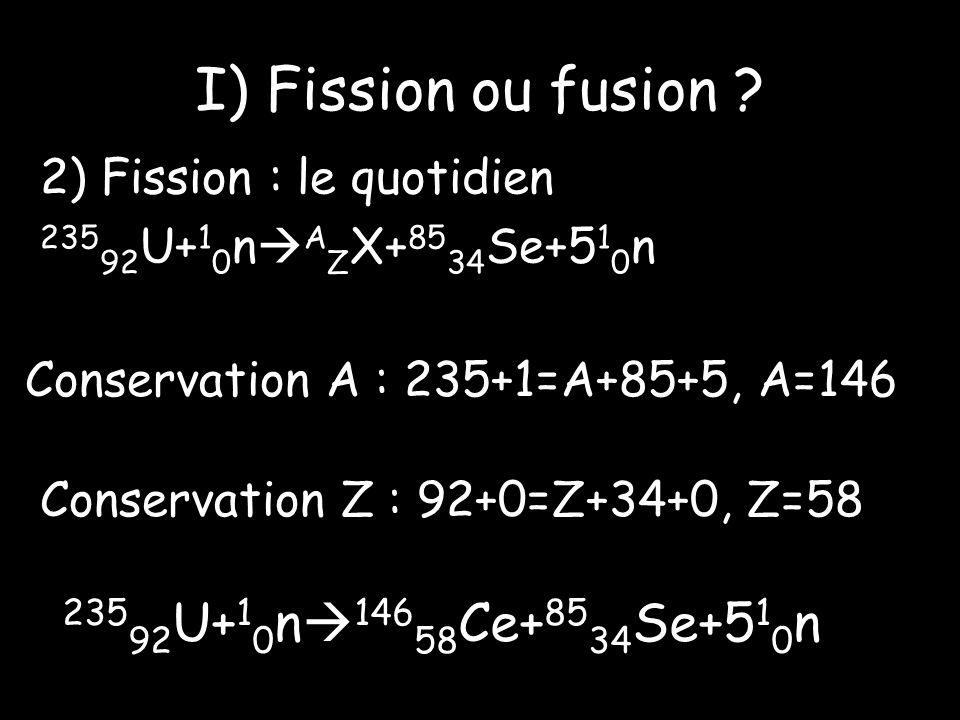 I) Fission ou fusion 23592U+10n14658Ce+8534Se+510n