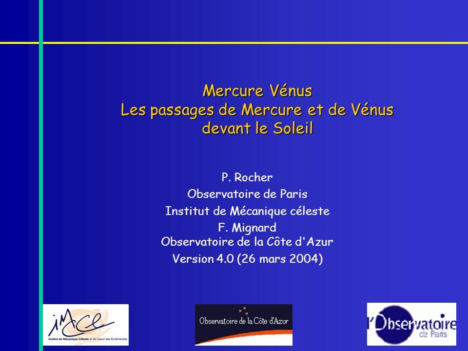 Mercure Vénus Les passages de Mercure et de Vénus devant le Soleil