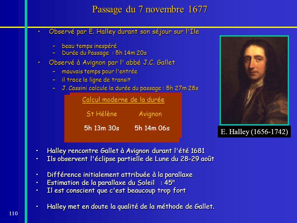 Passage du 7 novembre 1677 E. Halley (1656-1742)