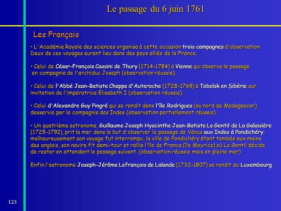 Le passage du 6 juin 1761 Les Français