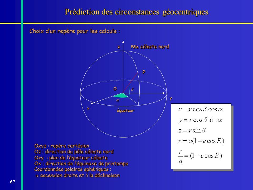 Prédiction des circonstances géocentriques