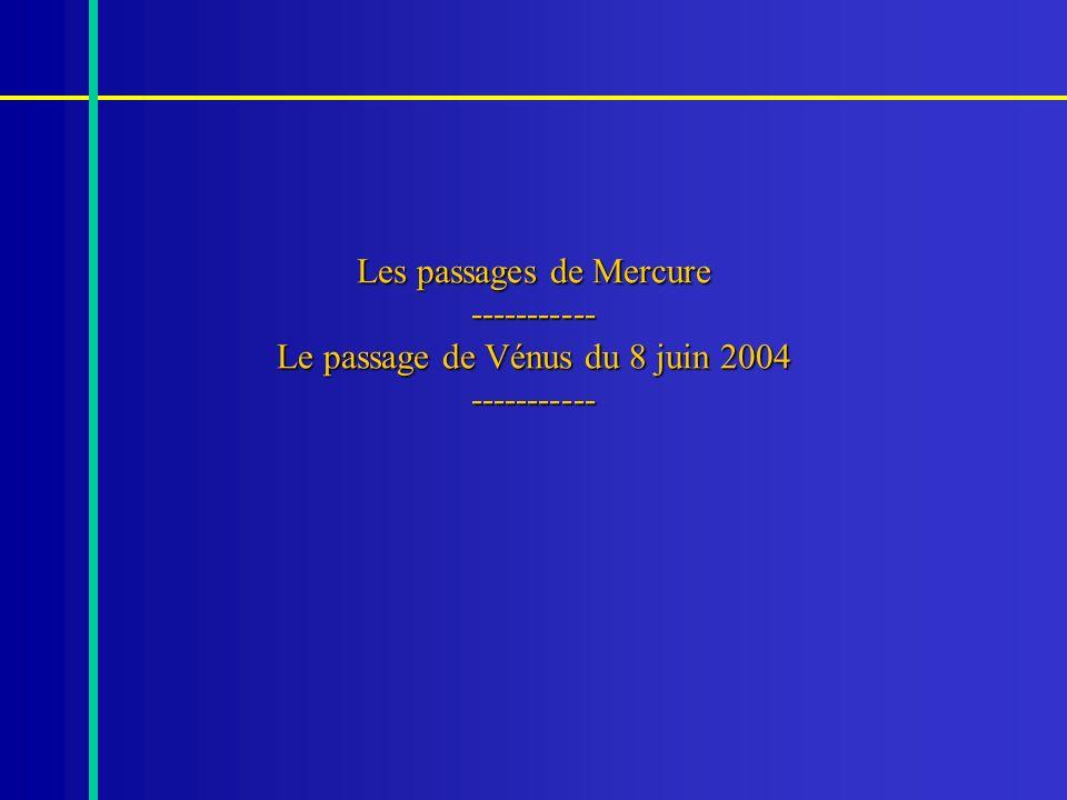 Les passages de Mercure ----------- Le passage de Vénus du 8 juin 2004 -----------
