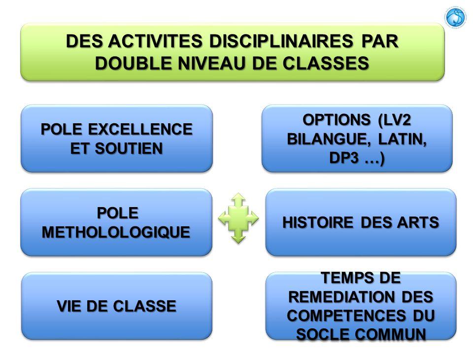 DES ACTIVITES DISCIPLINAIRES PAR DOUBLE NIVEAU DE CLASSES