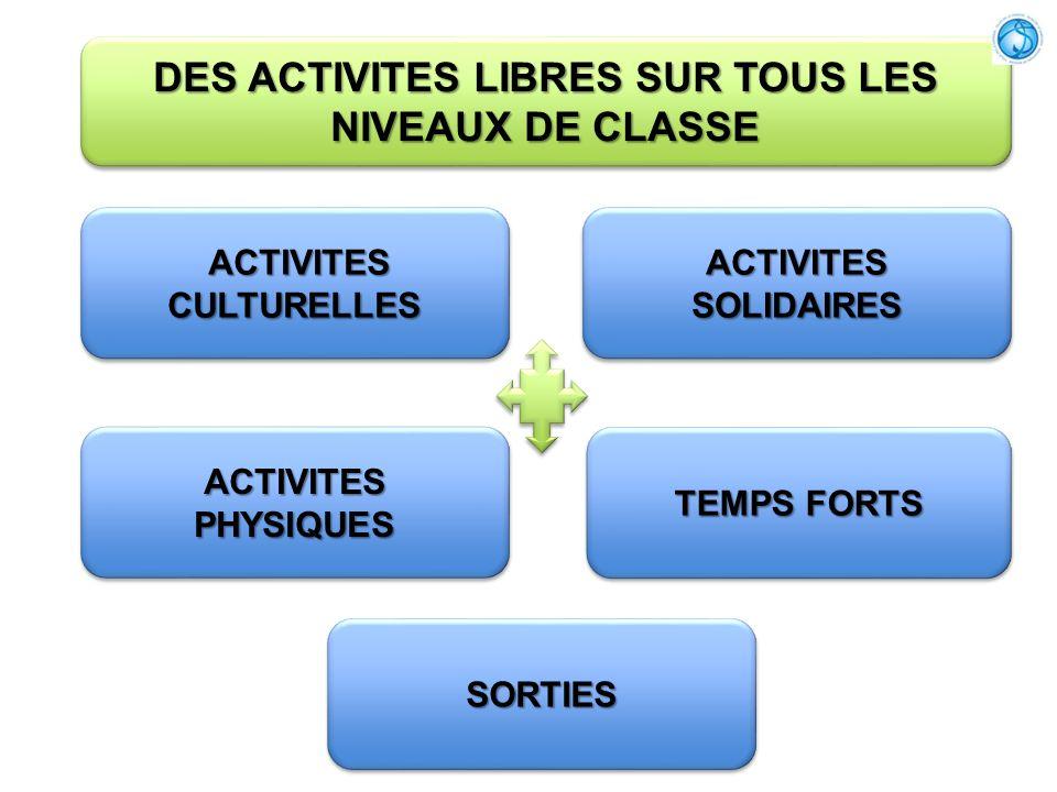 DES ACTIVITES LIBRES SUR TOUS LES NIVEAUX DE CLASSE
