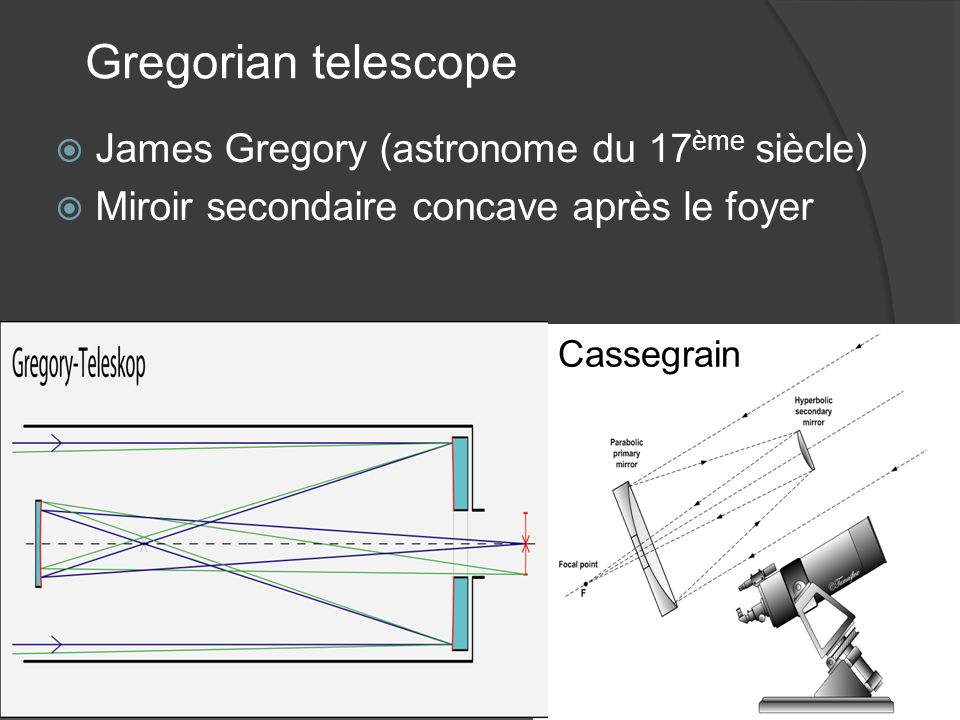 Gregorian telescope James Gregory (astronome du 17ème siècle)