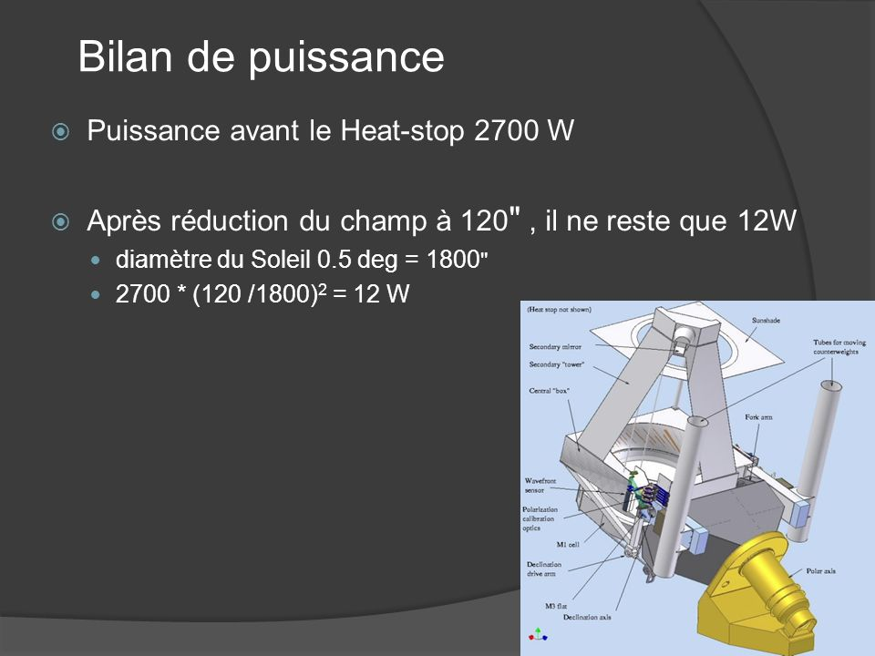 Bilan de puissance Puissance avant le Heat-stop 2700 W