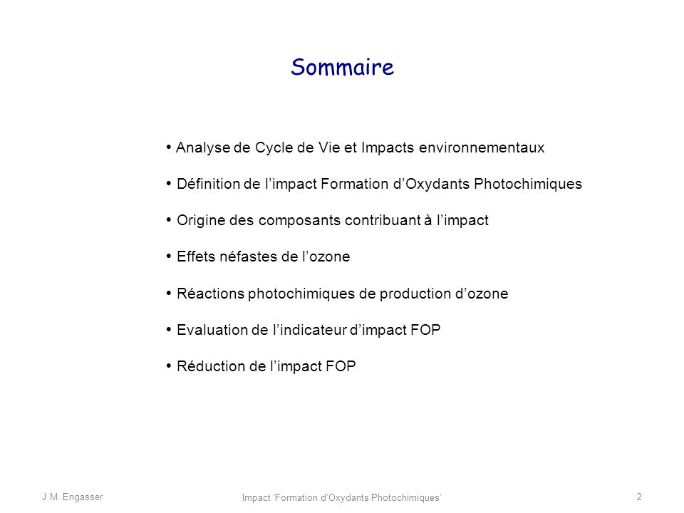 Impact 'Formation d'Oxydants Photochimiques'