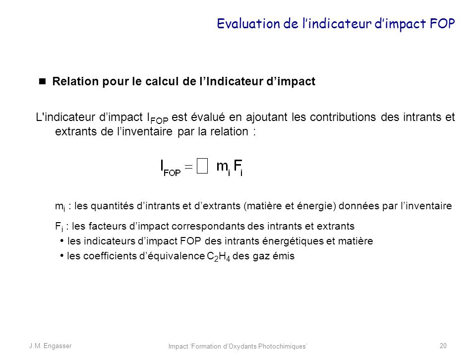 Evaluation de l'indicateur d'impact FOP