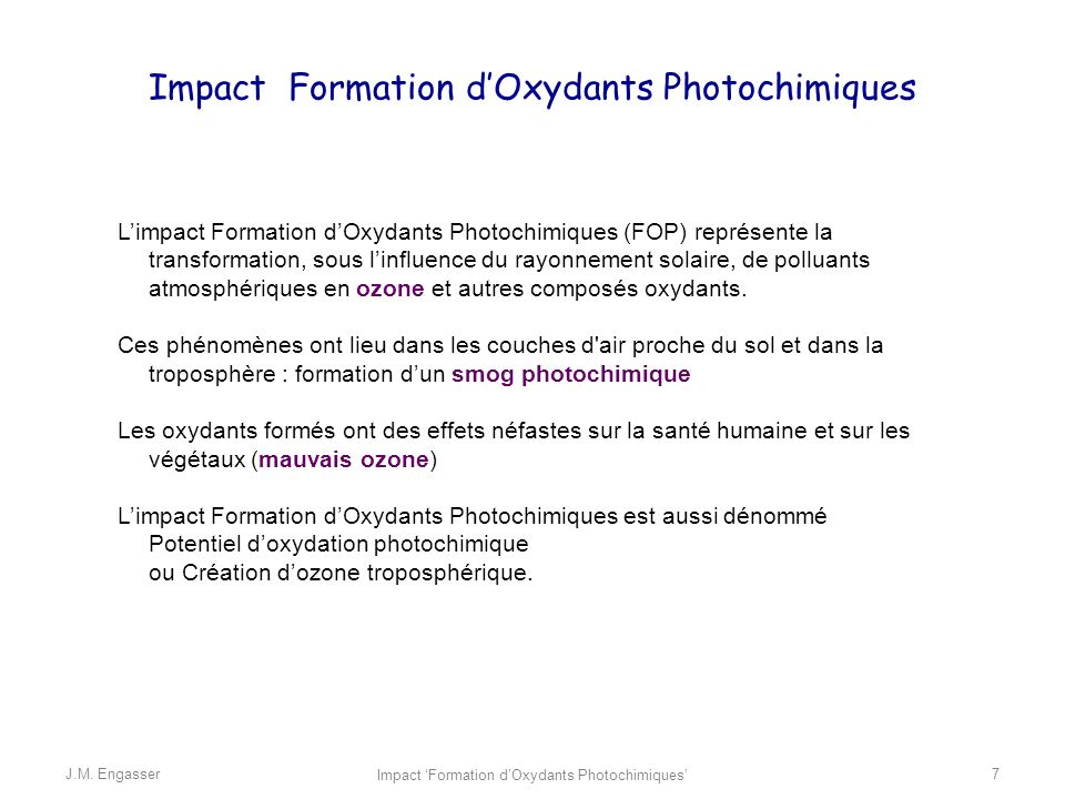 Impact Formation d'Oxydants Photochimiques
