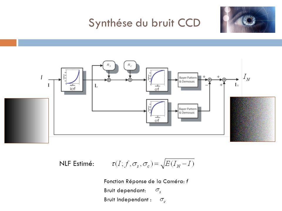 Synthése du bruit CCD NLF Estimé: I Fonction Réponse de la Caméra: f