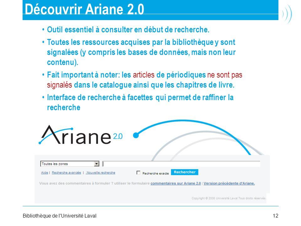 Découvrir Ariane 2.0 Outil essentiel à consulter en début de recherche.