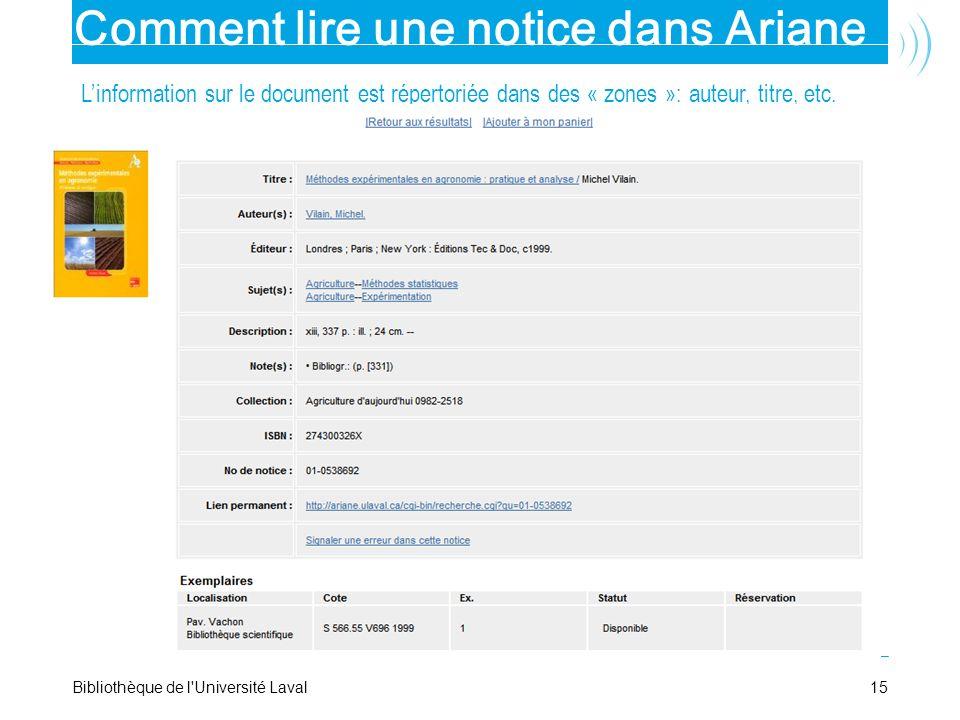 Comment lire une notice dans Ariane