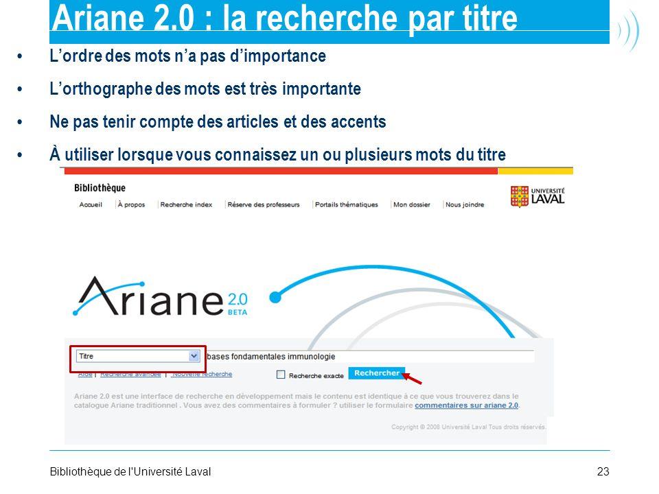 Ariane 2.0 : la recherche par titre