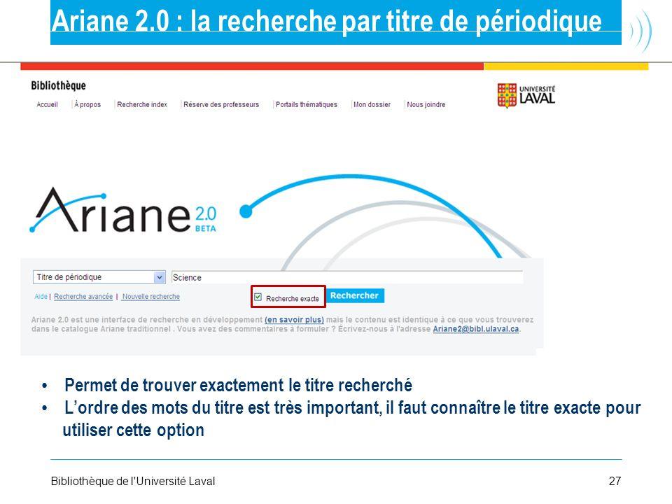 Ariane 2.0 : la recherche par titre de périodique