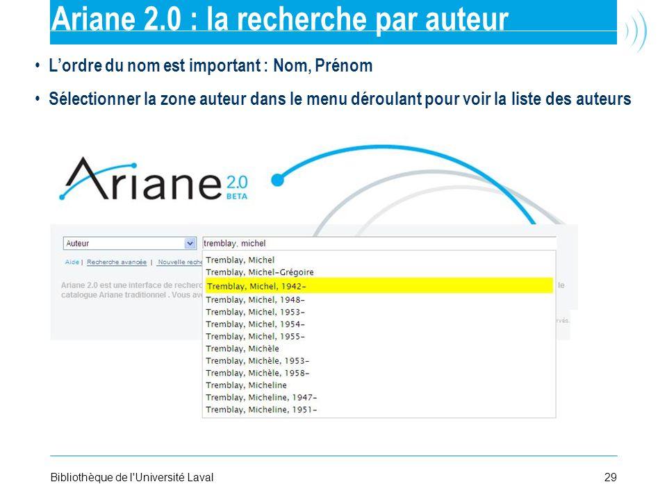 Ariane 2.0 : la recherche par auteur