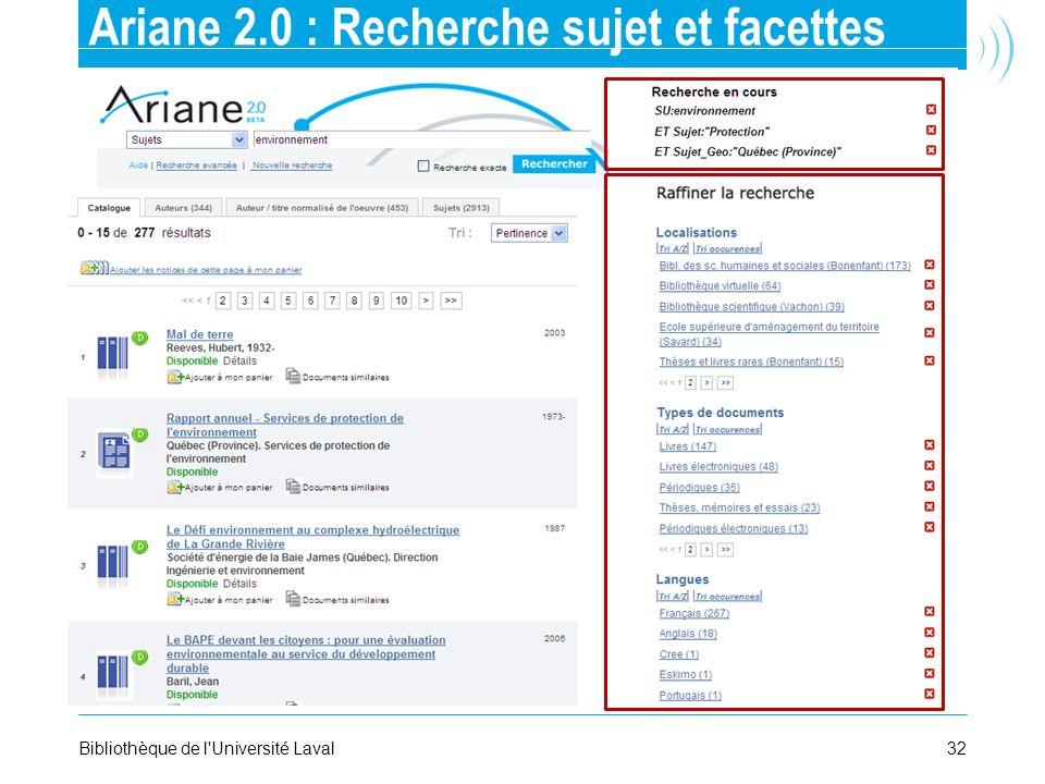 Ariane 2.0 : Recherche sujet et facettes