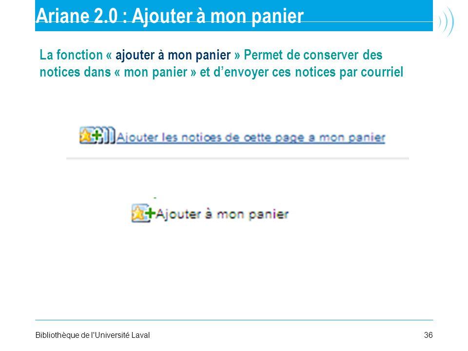 Ariane 2.0 : Ajouter à mon panier