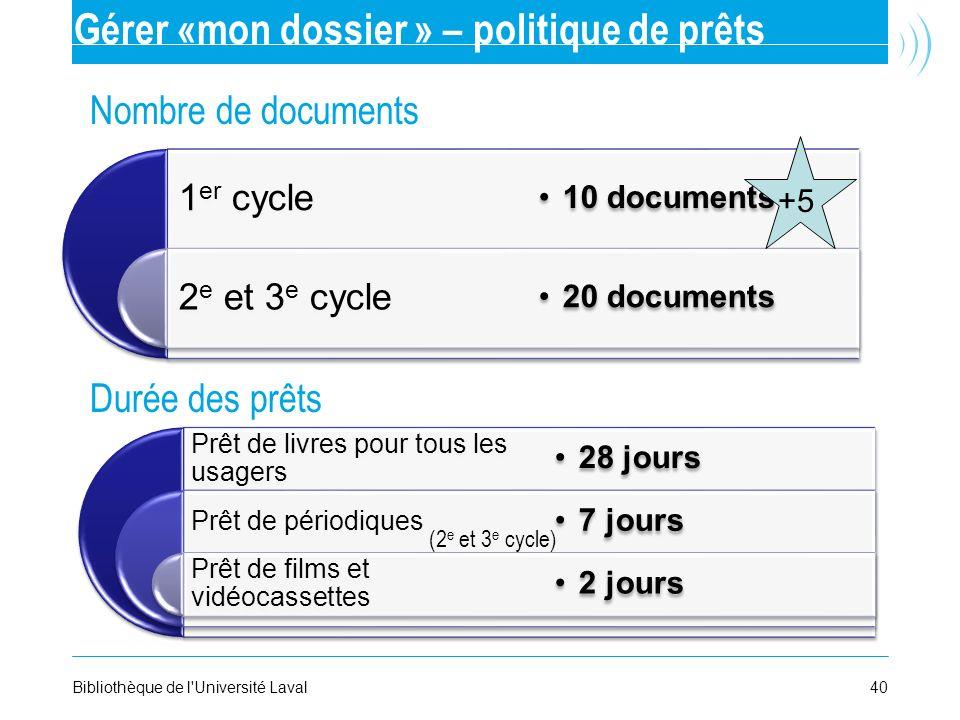 Gérer «mon dossier » – politique de prêts