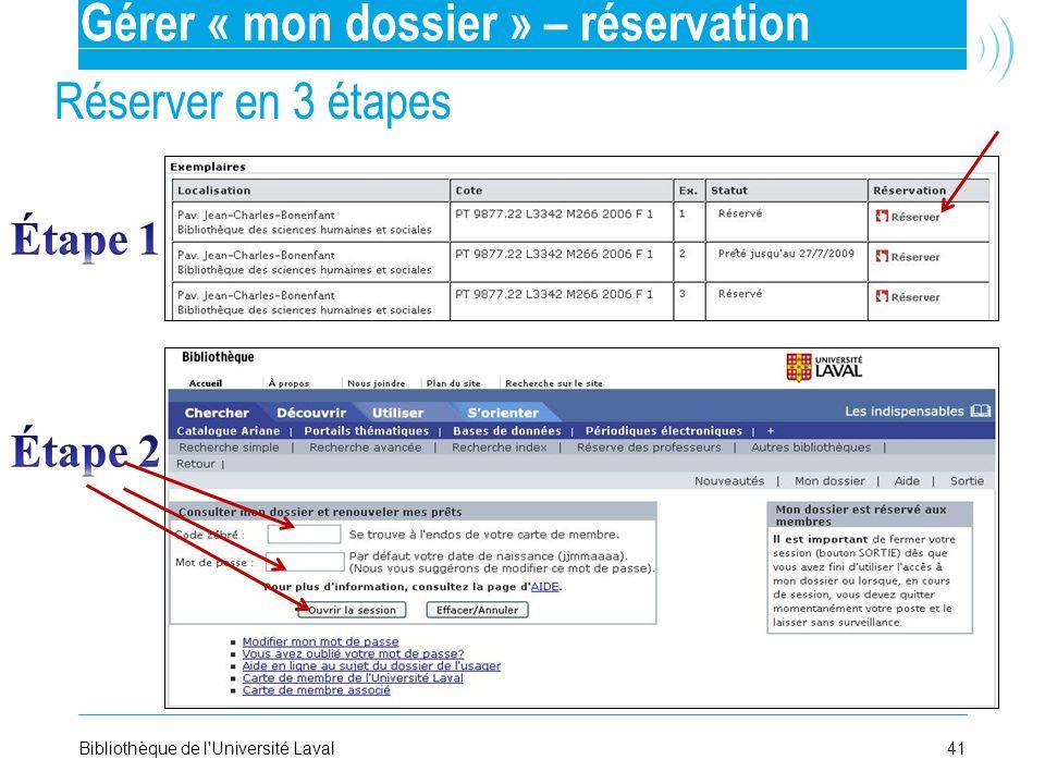 Gérer « mon dossier » – réservation