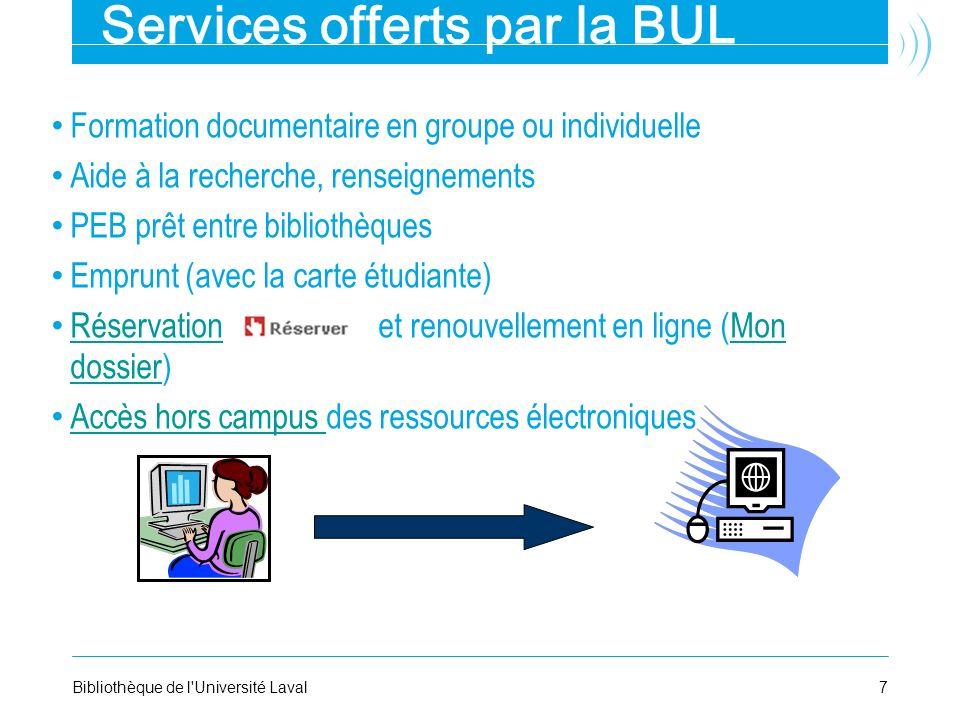 Services offerts par la BUL