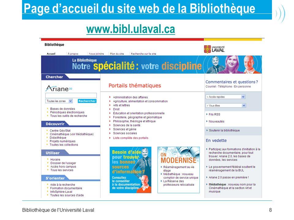Page d'accueil du site web de la Bibliothèque