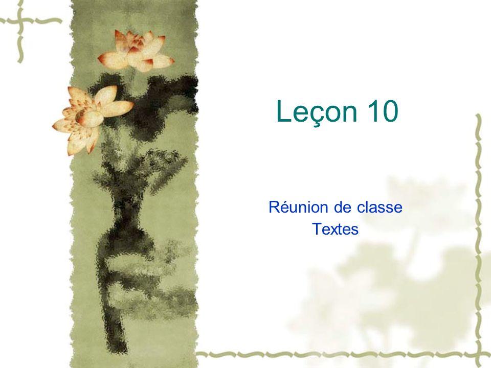 Réunion de classe Textes