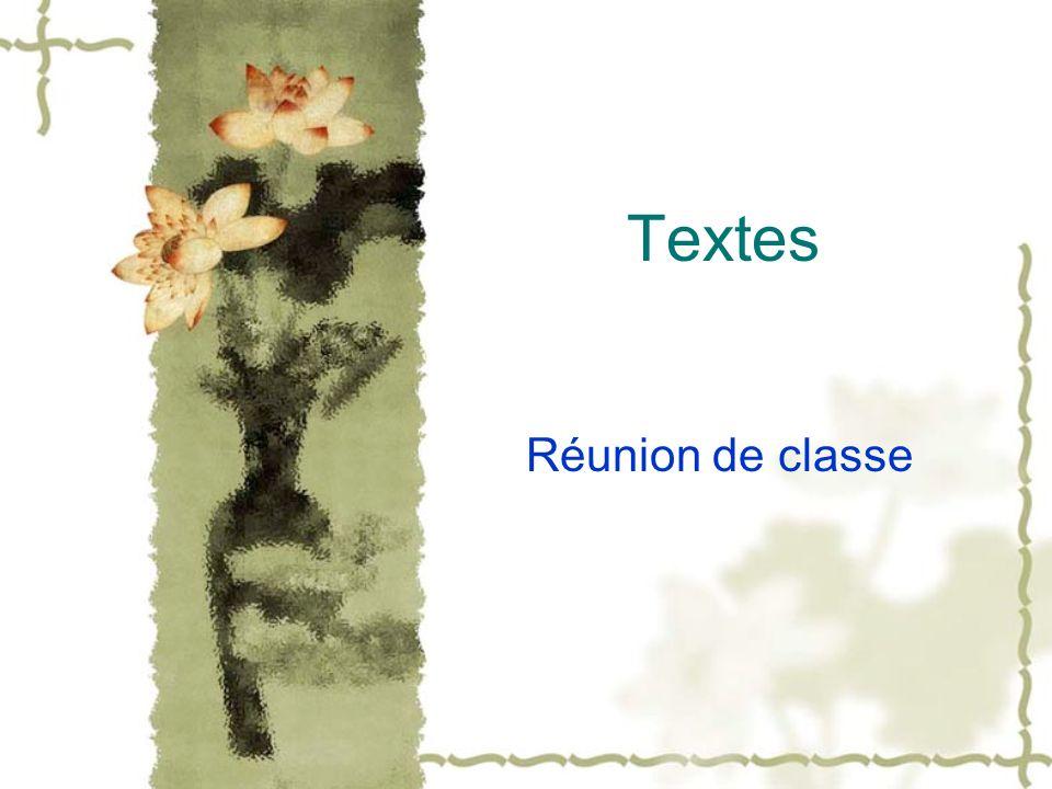 Textes Réunion de classe