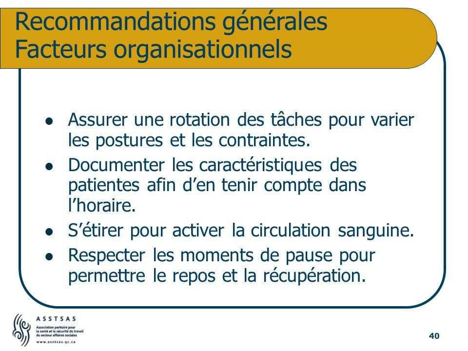 Recommandations générales Facteurs organisationnels