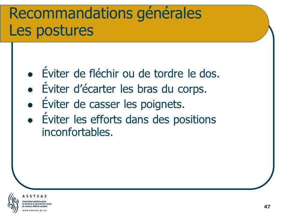 Recommandations générales Les postures