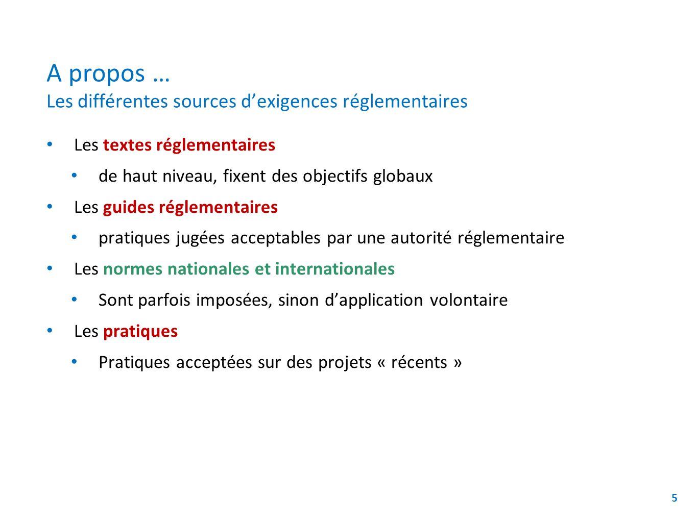 A propos … Les différentes sources d'exigences réglementaires