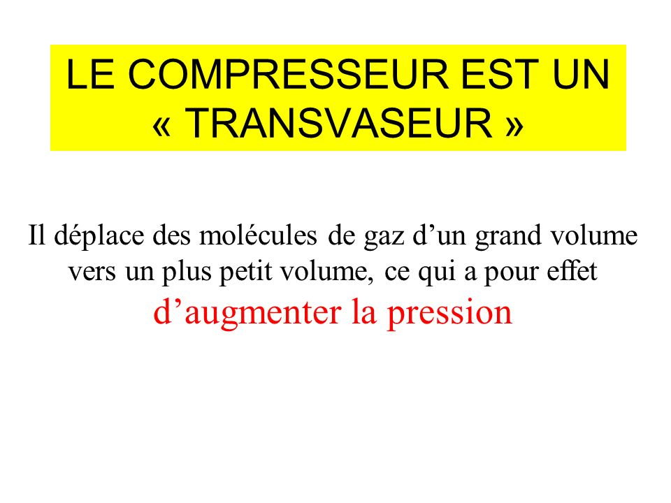 LE COMPRESSEUR EST UN « TRANSVASEUR »