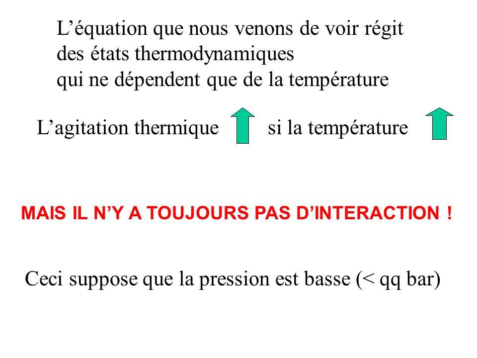 L'équation que nous venons de voir régit des états thermodynamiques
