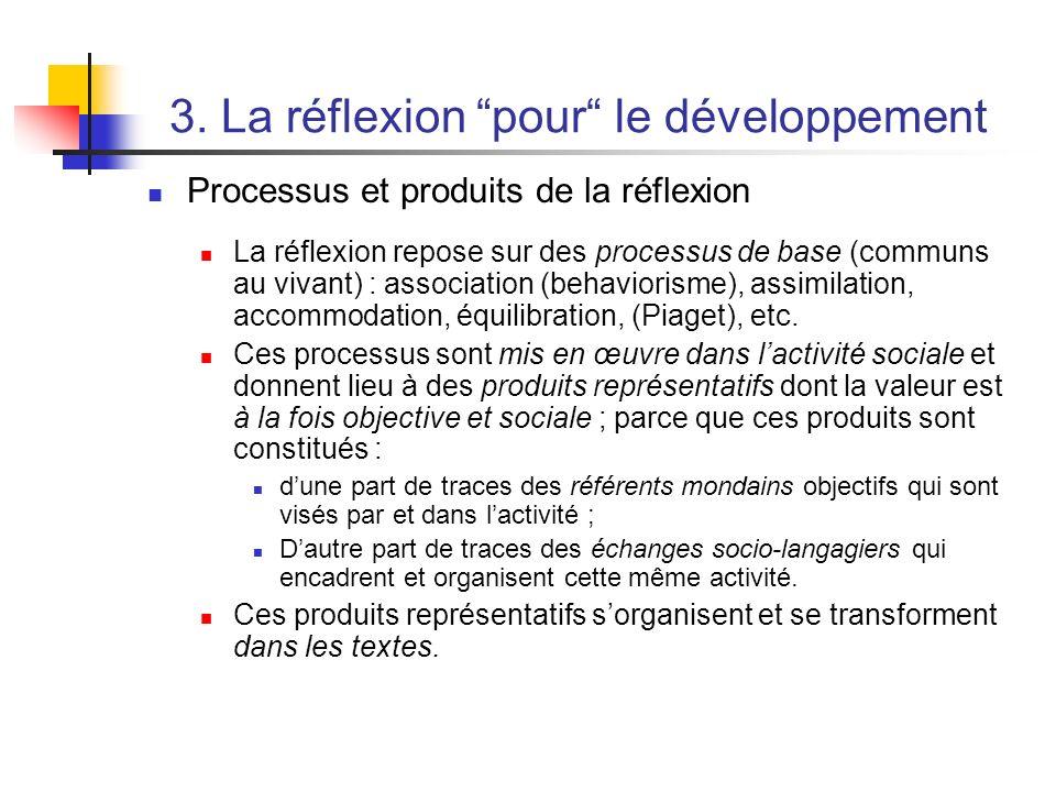 3. La réflexion pour le développement