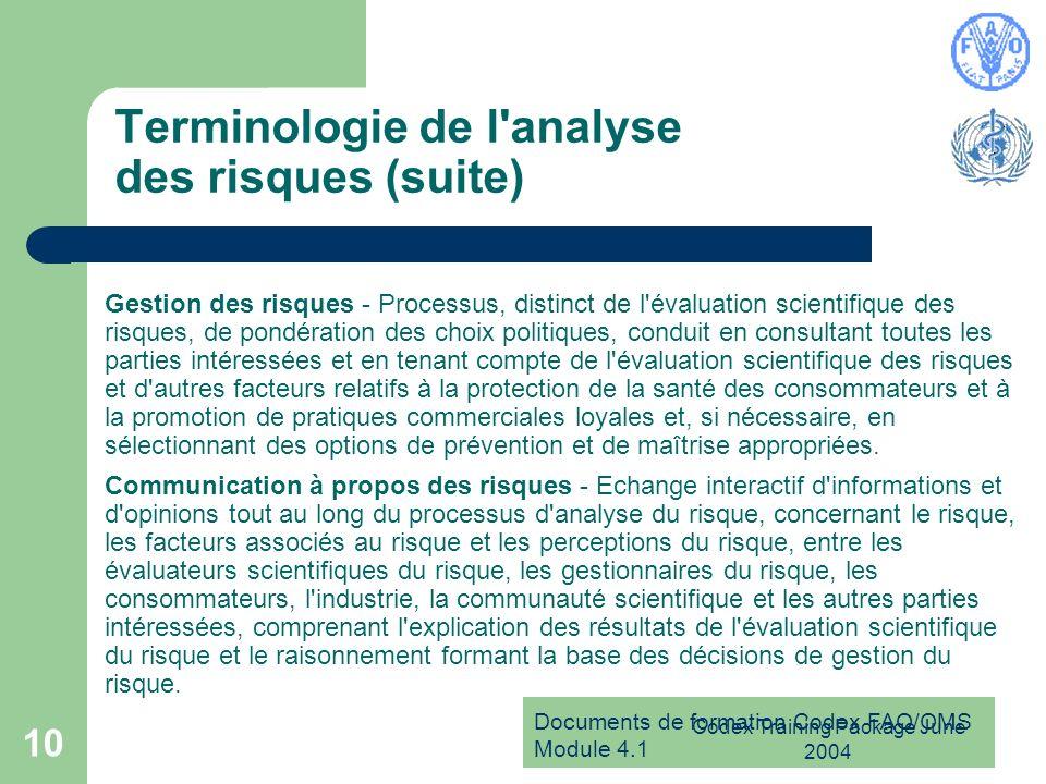 Terminologie de l analyse des risques (suite)