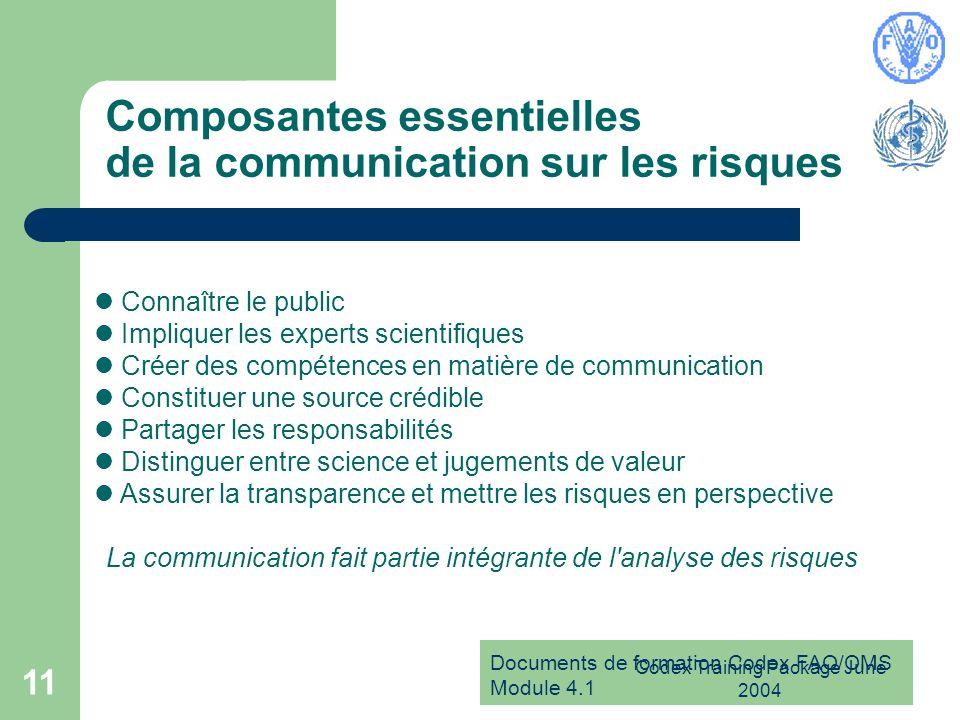 Composantes essentielles de la communication sur les risques