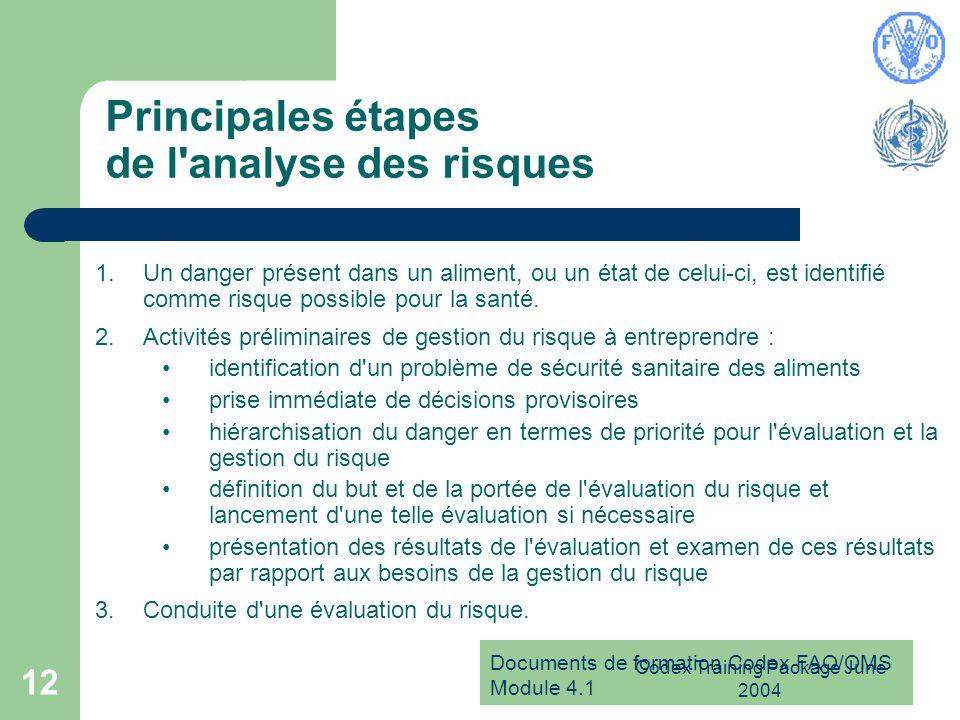 Principales étapes de l analyse des risques